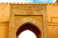 old door in morocco africa ancien and wall ornate blue Royalty Free Stock Photo