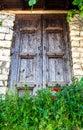 Old door in old town in albania