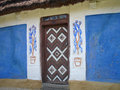 Old door wood of a ukrainian house Stock Images