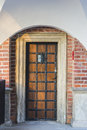 Old door wooden with bars on wawel castle in krakow poland Royalty Free Stock Photo