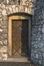 Old door wooden with bars on wawel castle in krakow poland Royalty Free Stock Photography