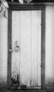 Old door wooden with hanging lock Stock Photos