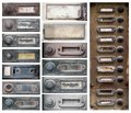 Old doorbells detail of the and damaged buttons Royalty Free Stock Images