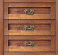 Old drawer detail of the commode damper Royalty Free Stock Photos