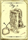 Old drawing of the phone modern figure made in style engraving in digital format Stock Images