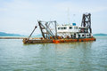 Old dredge thailand in the bay Royalty Free Stock Photography