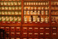 Old drugstore, pharmacy, bottles and vials. Royalty Free Stock Photo