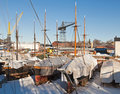 Old dry dock with ancient yachts Royalty Free Stock Image