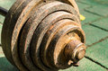 Old dumbbell close up of outdoor view rust weights Stock Photo