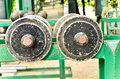 Old dumbbell selective focus of outdoor view rust weights Royalty Free Stock Photos