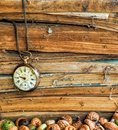 Old dusty books with broken pocket watch Royalty Free Stock Photo