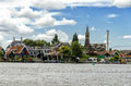 Old dutch village across the river Royalty Free Stock Images