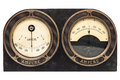 Old early twentieth century double ampere meter Royalty Free Stock Photo