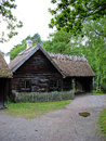 Old ecological cabin in Skansen park Stock Photos