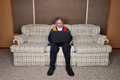 Old Elderly Senior Man Using Laptop Computer Royalty Free Stock Photo