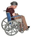 Old elderly woman in wheelchair isolated an sitting a on white Royalty Free Stock Photo