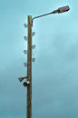 Old electric lamp post with speakers Royalty Free Stock Photo