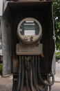 Old electric meter front view of Stock Photography