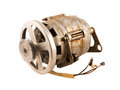 Old electric motor with pulley a for drive belt Stock Photos