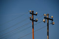 Old electricity poles and wires Royalty Free Stock Photo