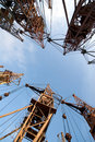 Old elevating cranes Stock Images