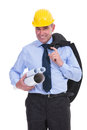 Old engineer holds projects and jacket Royalty Free Stock Photo