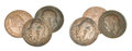 Old english pennies tarnished pre decimal isolated on a white background Royalty Free Stock Photos