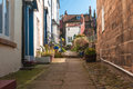 Old english village terraced cottages pedestrian access Stock Photography