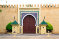 Old entrance door at the Royal palace in Morocco Fes Royalty Free Stock Photo