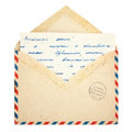 Old envelope and letter on a white background Royalty Free Stock Images