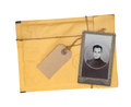 Old envelope and photo isolated on white background Stock Image