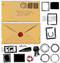 Old envelope and postage stamp set Royalty Free Stock Photo