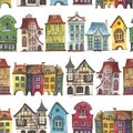 Old europe houses seamless pattern on white Royalty Free Stock Photo