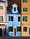 Old europe houses three fashioned facades closeup burano island venice italy Stock Photography