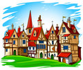 Old european town vector illustration Stock Images