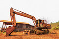 Old excavator standing Royalty Free Stock Photo