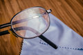 Old Eyeglass with many scratches Royalty Free Stock Photo