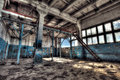 Old factory abandoned indoors hdr image Royalty Free Stock Image