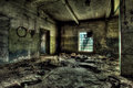 Old factory abandoned indoors view Royalty Free Stock Photo
