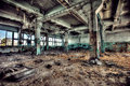 Old factory abandoned indoors view Stock Image