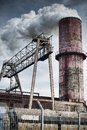 Old factory chimney abandoned place in poland ironworks Stock Photography
