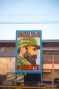Old factory in havana with the image of fidel castro cuba feb comunist propaganda featuring cuban president until Royalty Free Stock Images