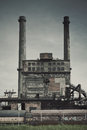 Old factory ironworks and chimneys abandoned place in poland Royalty Free Stock Images