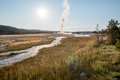 Old faithful geyser in yellowstone national park erupts wyoming Stock Photography