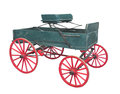 Old farm wagon buckboard isolated small wooden on white Royalty Free Stock Photo