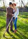 Old farmer and his daughter Royalty Free Stock Photo