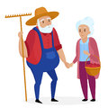 Old farmer with his wife. Elderly couple. Senior Grandpa and grandma standing. Vector cartoon illustration.