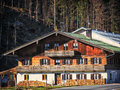 Old farmhouse typical at the european alps Royalty Free Stock Image