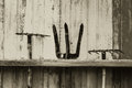 Old farming tools. farm agriculture tool on wood wall Royalty Free Stock Photo