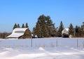Old farmstead in northern minnesota the winter Stock Photo